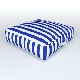 Cobalt Blue and White Vertical Deck Chair Stripe Outdoor Floor Cushion