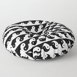 Fluidity | Yin Yang Art Pattern Black & White Floor Pillow