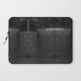 Black and White Rain Drops; Abstract Laptop Sleeve