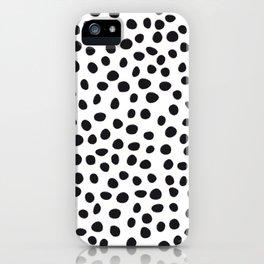 Hand Drawn Polka Dots, Spots Black &  White iPhone Case