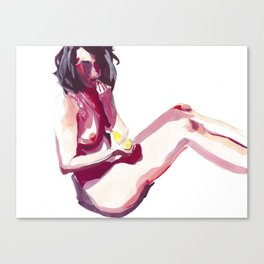 Claudia and Her Yellow Banana Canvas Print