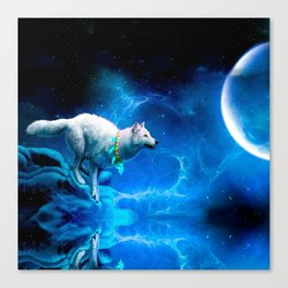 Wolf and Moon Canvas Print