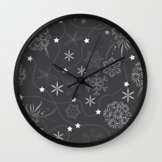 Stars on a string with snowflake and fireworks Wall Clock