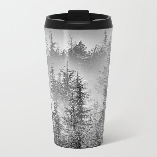 BW. Early moorning... Into the foggy woods Metal Travel Mug