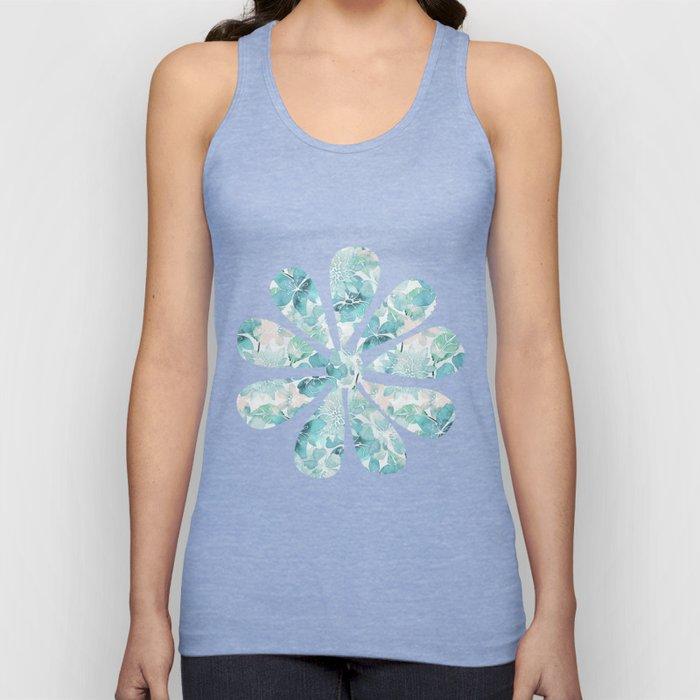 Blue green watercolor flower pattern Unisex Tank Top