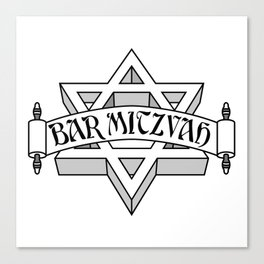 Bar Mitzvah with silver scroll &  Star of David  Canvas Print