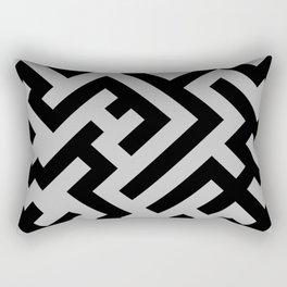 Black and Gray Diagonal Labyrinth Rectangular Pillow