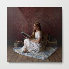 Reading Takes you Places - Book Lover's Fine Art Portrait Metal Print