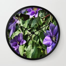 Clematis Flowers and Vines Wall Clock