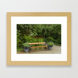 Bench and Flowers Framed Art Print