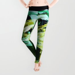 Green and Gold Expressionism Leggings