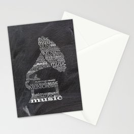 Gramophone on chalkboard Stationery Cards