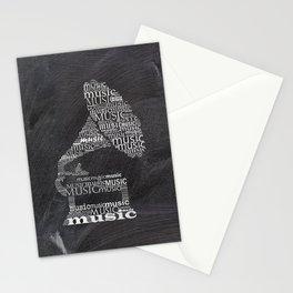 Gramophone on chalkboard Stationery Cards