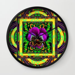 Green-gold Geometric Patter with Purple Pansy Abstract Wall Clock