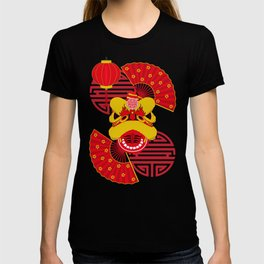 Chinese New Year Dragon and Red Fans T-shirt