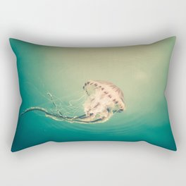 Lady Jellyfish is swimming in the calm sea of Trieste. Rectangular Pillow