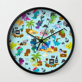 Dinosaur Pirates Blue Pattern Wall Clock