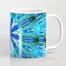Teal Blue Floral Kaleidoscope Coffee Mug