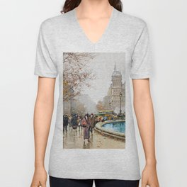 The fountain of Palm, Place du Chatelet by Eugene Galien-Laloue Unisex V-Neck