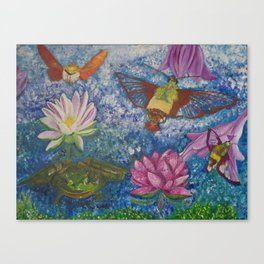 Hummingbird Moth and Frog Canvas Print