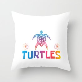 Just A Girl Who Loves Turtles Save A Turtle Mother Earth Environmental Skip A Straw T-shirt Design Throw Pillow
