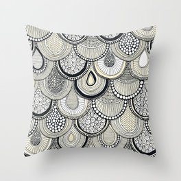 dragon scales mono Throw Pillow
