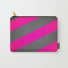 Hot Pink & Gray Diagonal Stripes Carry-All Pouch