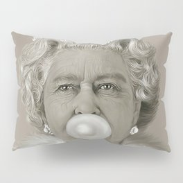 Queen Elizabeth II Blowing White Bubble Gum Pillow Sham