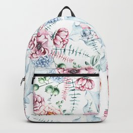 Hand painted pink blue watercolor modern floral Backpack