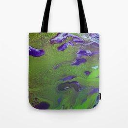 Fluid Art Acrylic Painting, Pour 12, Green, Purple, & Light Blue Blended Colors Tote Bag