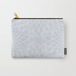 spirograph inspired pattern in white and a pale icy gray Carry-All Pouch