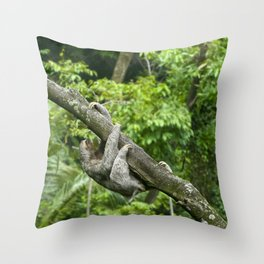 Three-toed sloth climbing tree Throw Pillow