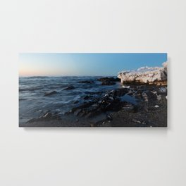 Sea Washes over the Rocks in Spring Metal Print