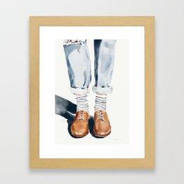 Brown shoes Framed Art Print