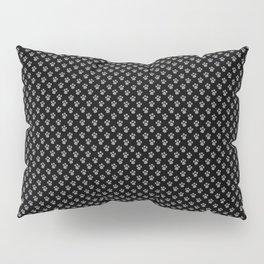 Tiny Paw Prints Grey on Black Pattern Pillow Sham