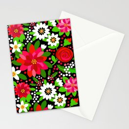 Christmas Flowers and Holly, Poinsettia, Roses and Lilies, holidays, girls floral gift, gift for mom Stationery Cards