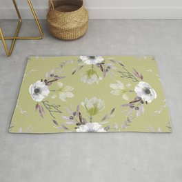 Floral Square Yellow Rug