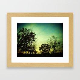 Orange Green Blue Sky Framed Art Print