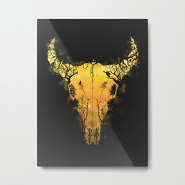 Dark Desert Cow Skull Metal Print