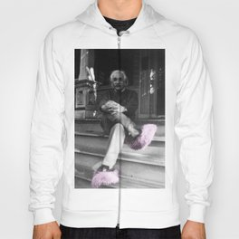 Albert Einstein in Fuzzy Pink Slippers Classic E = mc² Black and White Satirical Photography  Hoody