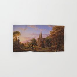 The Return Home medieval forest cathedral landscape painting by Thomas Cole Hand & Bath Towel