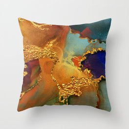 Abstract Gold and Blue Hues Glitter Paint Texture Throw Pillow