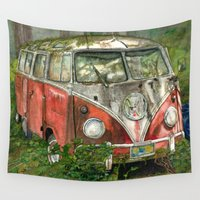 vw bus Wall Tapestries featuring VW Bus in the Woods by Barb Laskey Studio