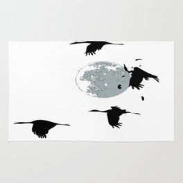 Storks and moon Rug