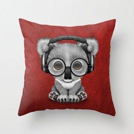 Cute Baby Koala Bear Dj Wearing Headphones on Red Throw Pillow