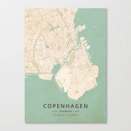 Copenhagen, Denmark - Vintage Map Canvas Print