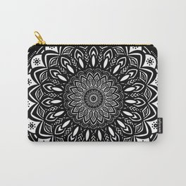 Bold Mandala Black and White Simple Minimal Minimalistic Carry-All Pouch