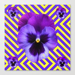 CONTEMPORARY PURPLE PANSIES  FLOWERS YELLOW PATTERNS Canvas Print