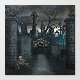 Graveyard #1 * Halloween Churchyard Scary Spooky Skeleton Tombstone Creepy Canvas Print