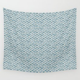 Fish Scales Geometric Pattern in Blue Green Wall Tapestry